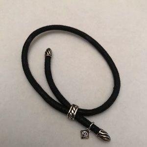 David Yurman Leather and Silver Wrap Bracelet
